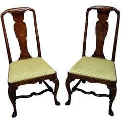 Antique Georgian Walnut Pair Side Chairs