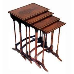 Antique Mahogany Quartetto Nest Of Tables