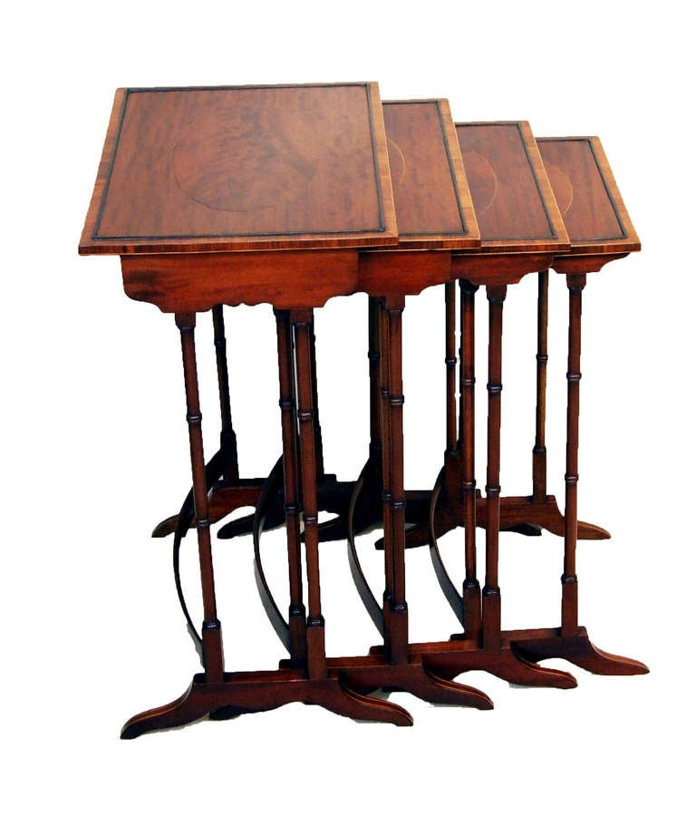 Vintage nesting tables set of wood nesting tables 1 outer - Antique Mahogany Quartetto Nest Of Tables At 1stdibs