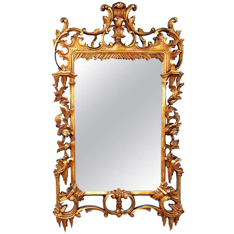Antique rococo style gilt wall mirror at 1stdibs for Baroque style wall mirror