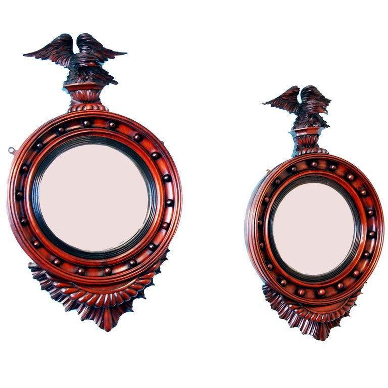 Antique 19th Century Pair of Mahogany Convex Mirrors