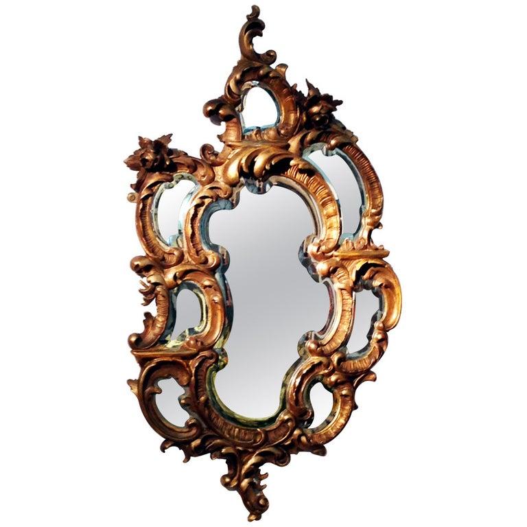 Antique 19th Century Rococo Giltwood Mirror