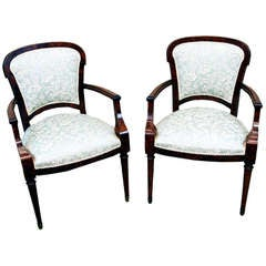 Antique Continental Mahogany and Ash Library Armchairs