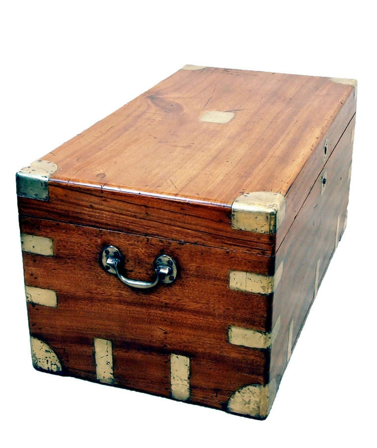 Antique camphor wood military campaign trunk at stdibs