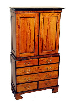 Antique Anglo Indian Marblewood Chest Cupboard