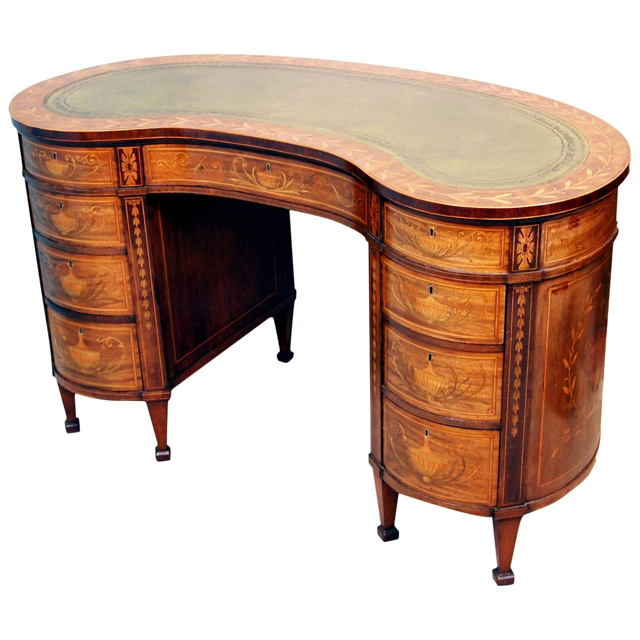 tables writing kidney vintage desk walnut shaped victorian id master f burr at style desks furniture