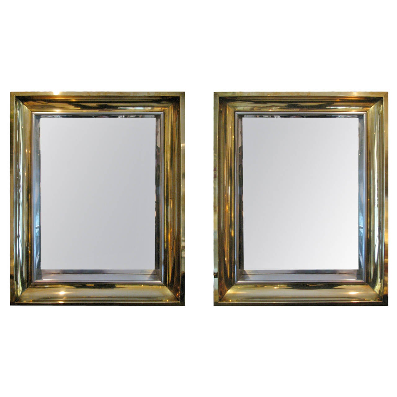 Pair of metal framed mirrors at 1stdibs for Metal frame mirror