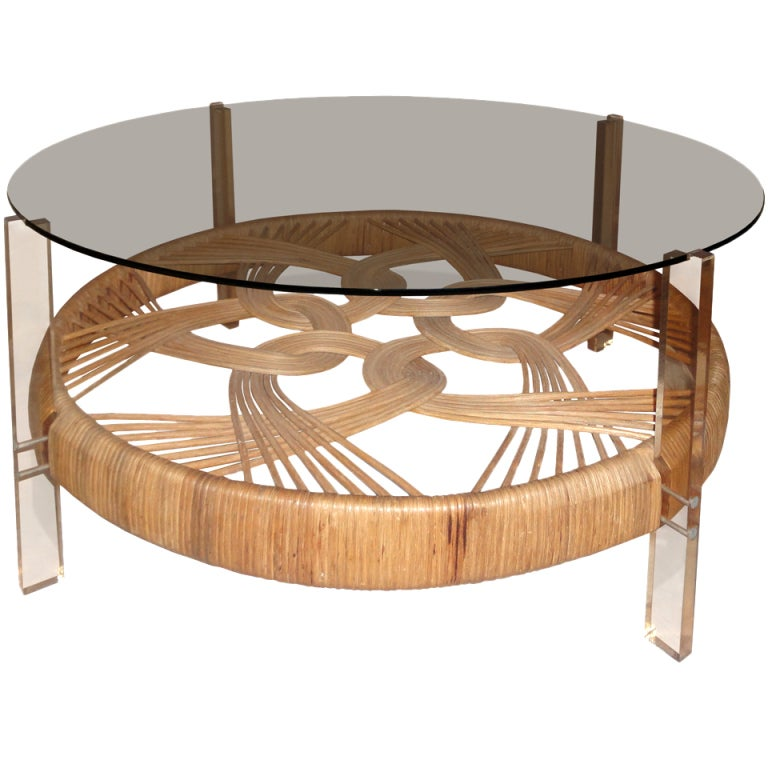 A Wicker Coffee Table At 1stdibs
