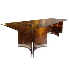 A Large Smokey-coloured Dining-table By Alessandro Albrizzi