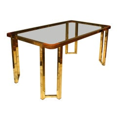 A Rectangular Gilded Metal Center Table