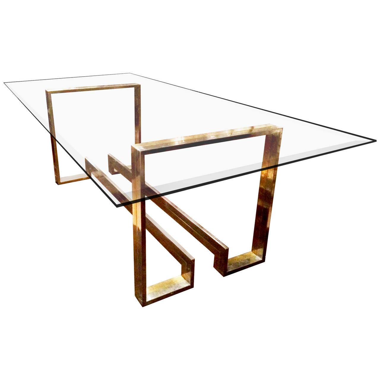 Metal and glass dining table at 1stdibs for Metal glass dining table