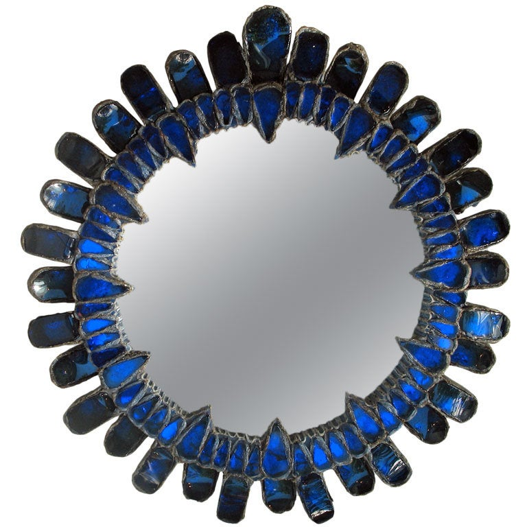 Blue convex mirror by line vautrin at 1stdibs for Miroir sorciere line vautrin