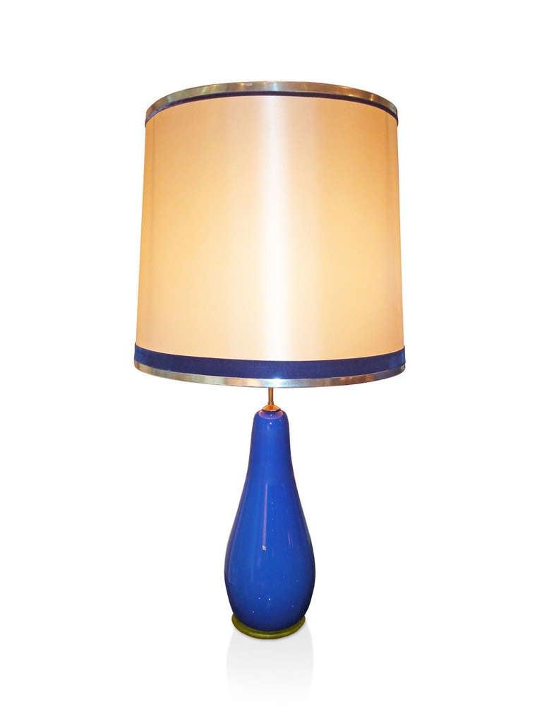 blue glass table lamp for sale at 1stdibs. Black Bedroom Furniture Sets. Home Design Ideas