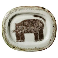 An Earthernware Platter with Cat