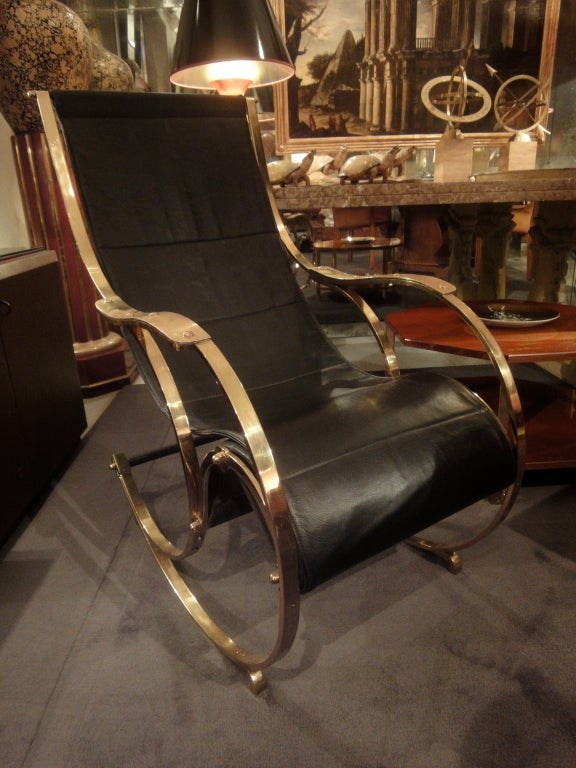 Black Leather and Bronze Rocking Chair at 1stdibs