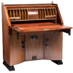 Stunning Art Deco Secretaire Desk by Michel De Klerk, Amsterdam School Architect