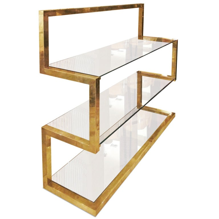 A brass shelve by Milo Baughman 1