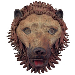 Polychromed and Wrought Iron Lion's Head 18th Century France