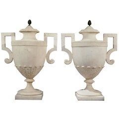 Pair of White Marble George III Period Urns