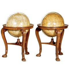 Pair of Period English Celestial and Terrestrial Library Globes