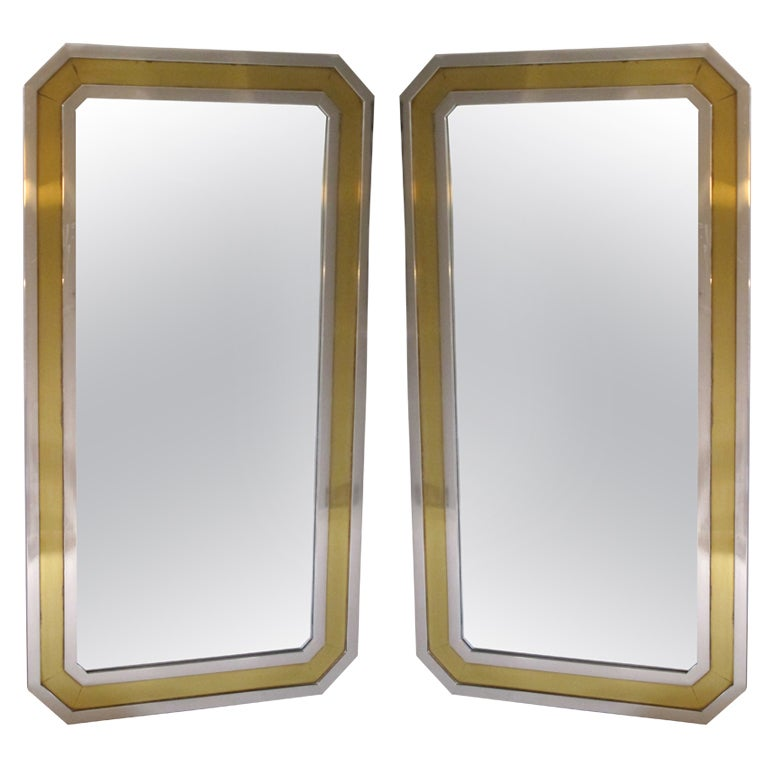 Pair Of Brass And Chrome 1970 S Mirrors France At 1stdibs