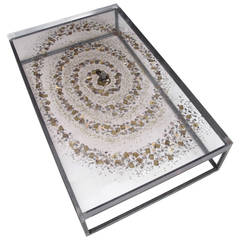 Constance Giraudon Coffee Table with Clock Mechanisim Inclusions