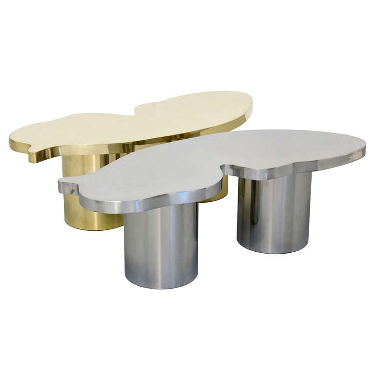 Farfalle Polished Steel And Brass Coffee Table For Sale At