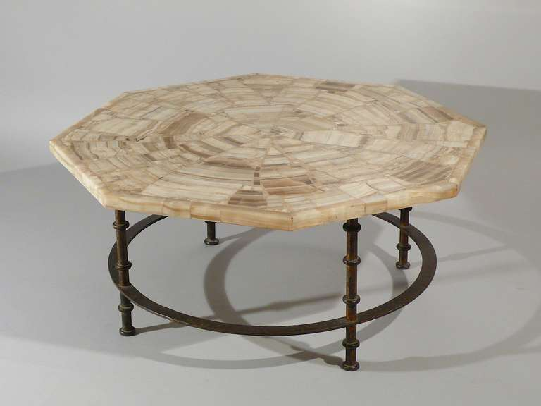 Octagonal Coffee Table Onyx Marble Top Iron Base Italy Circa 1950 At 1stdibs