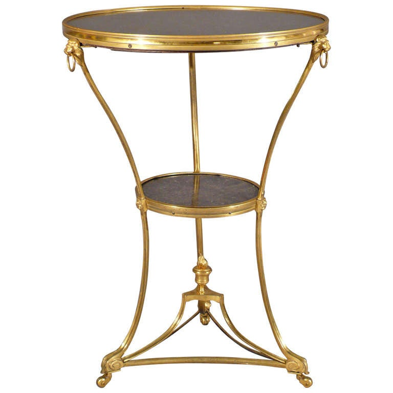 Console Gueridon: A Fantastic Directoire Period Two Tier Gilded Bronze