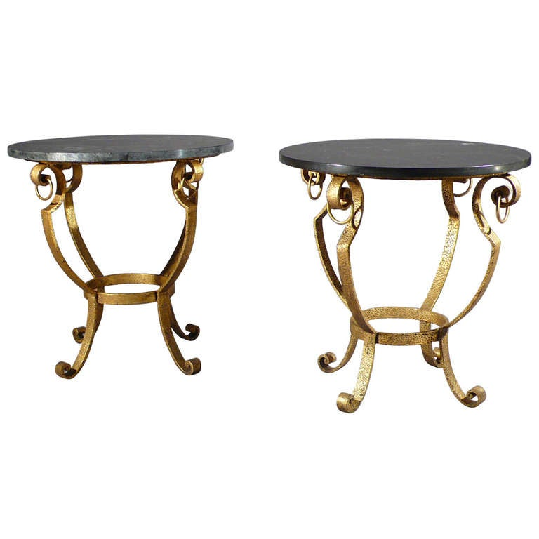 Pair of martele gilded wrought iron side tables 1950 s at 1stdibs