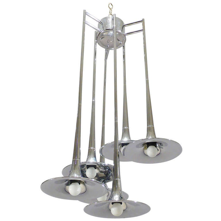 Trumpet Chrome Chandelier By Reggiani At 1stdibs