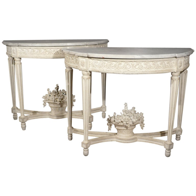 Pair Of Louis Xvi Period White Lacquered Console Tables