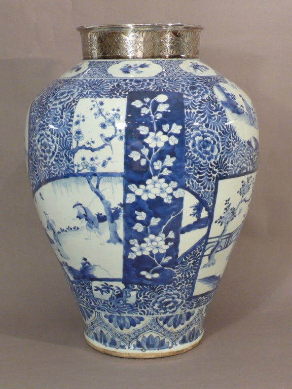 A Large Kangxi Blue And White Chinese Porcelain Vase For