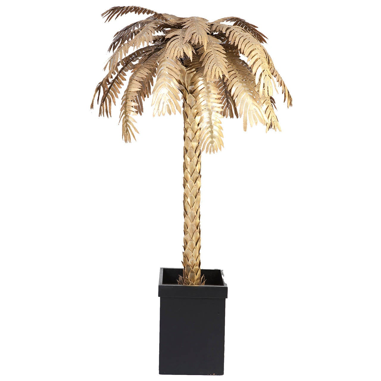 Great palm tree as floor lamp in gilded metal france for Art deco palm tree floor lamp