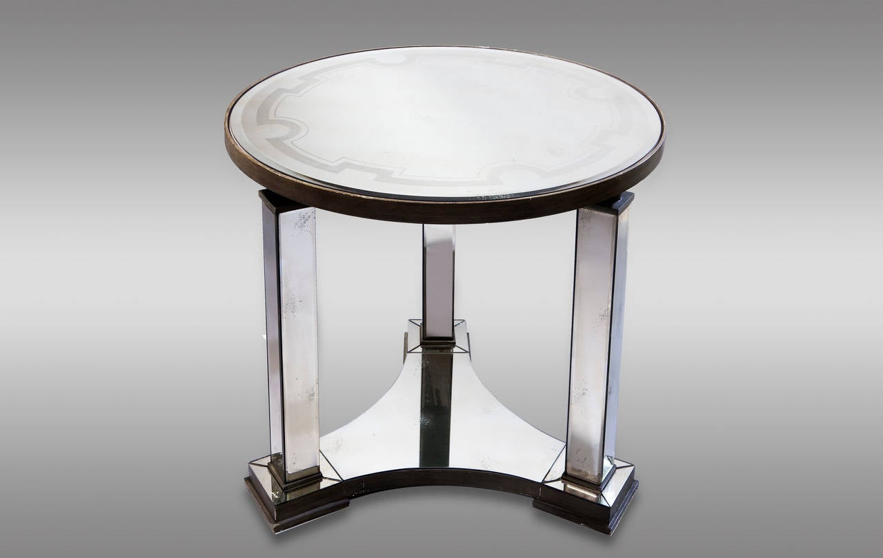 Mirrored and silvered wood center table 20th century at for Table th center