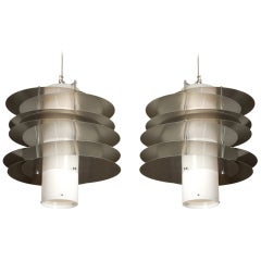 Two Italian Ceiling Fixture, Steel and Methacrylate, Italy, 1970