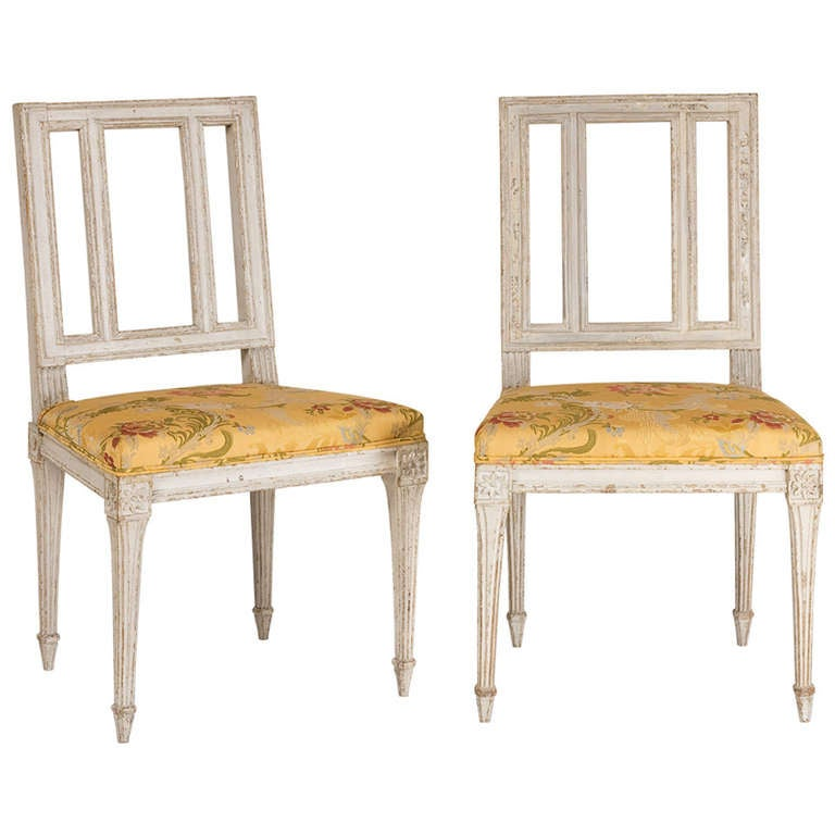 Two French Louis XVI Period painted Chairs 1
