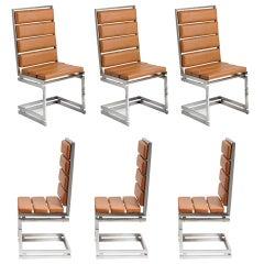 Six Italian Dining Chairs by Romeo Rega, 1970s