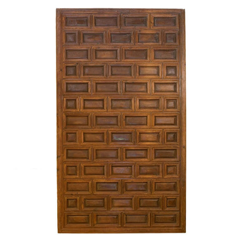 Exceptional spanish paneled door in pine and walnut at 1stdibs for Door in spanish