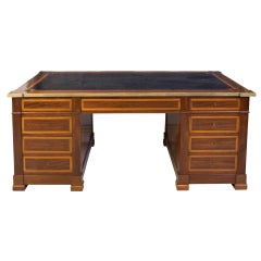 French Pedestal Desk in Mahogany and Crossbanded Sycamore