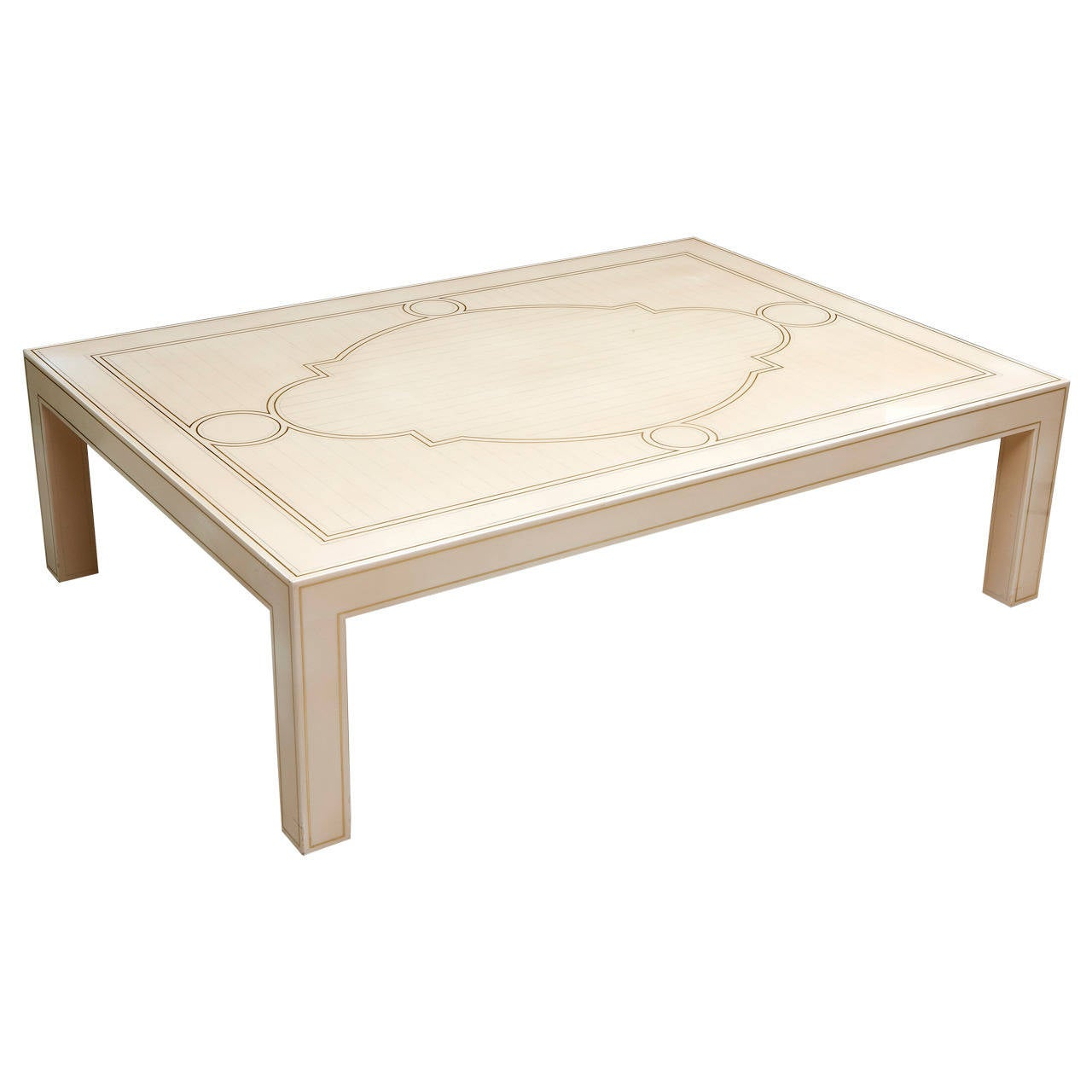 Ivory Lacquer With Metal Inlaid Table 1970s At 1stdibs