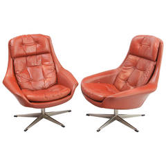 Swivel Armchairs in Leather, Model of Henry Walter Klein, 1970