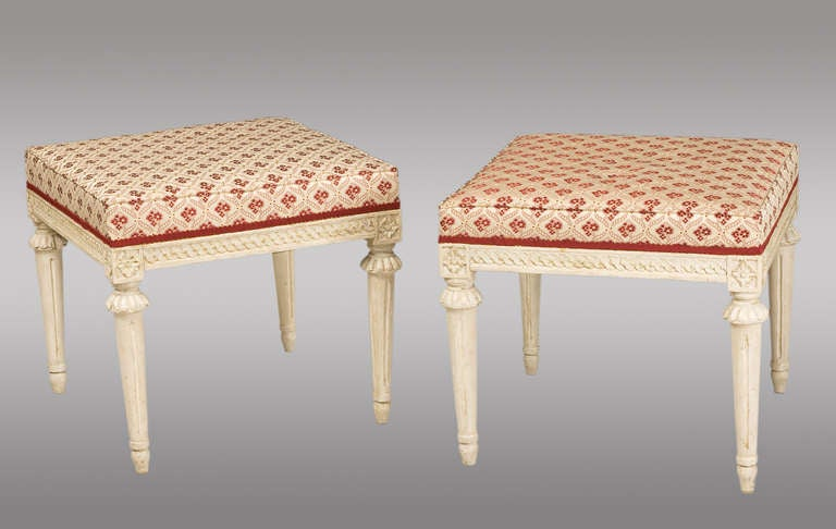 Pair of Carved Wood Swedish Stools, 18th Century 2