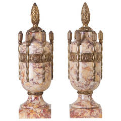 Pair of Art Deco Marble Urns with Bronze, France circa 1920