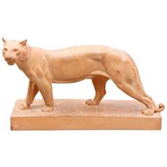 """""""Walking Panther"""" Terracotta Sculpture by Irénée Rochard"""