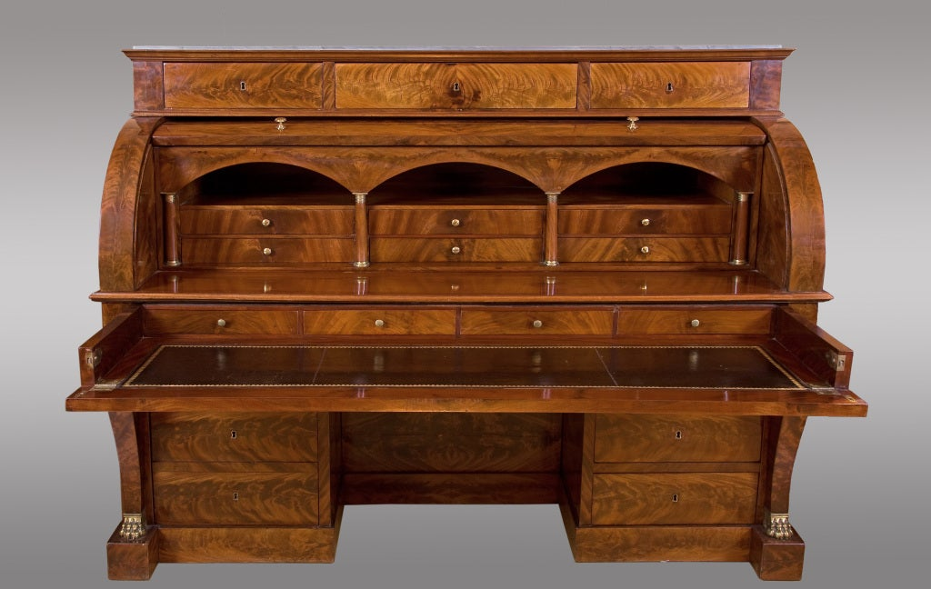 impressive french empire cylinder bureau early 19th century at 1stdibs. Black Bedroom Furniture Sets. Home Design Ideas