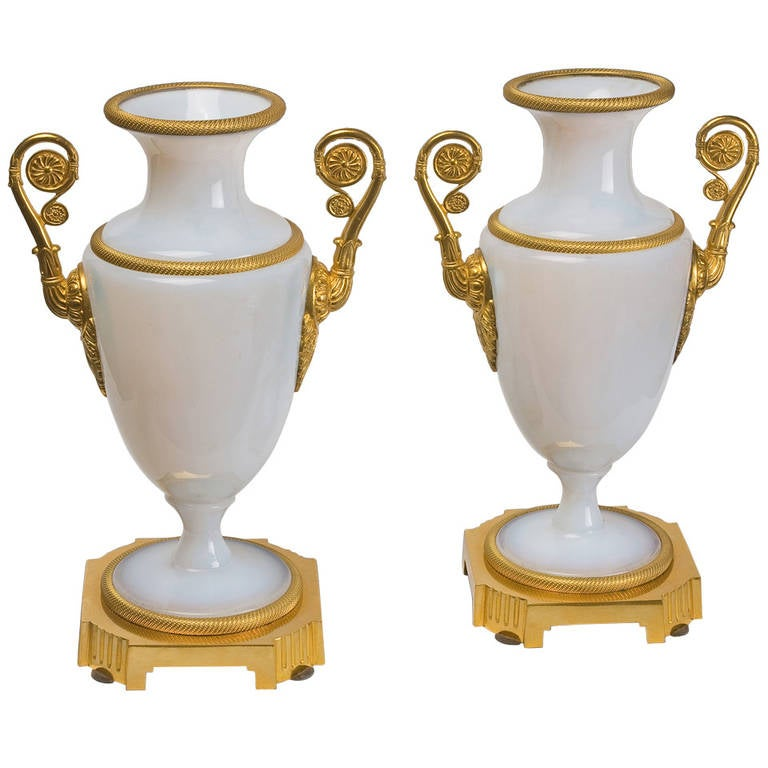 French White Opaline Vases with Gilt Bronze, Charles X Period 1