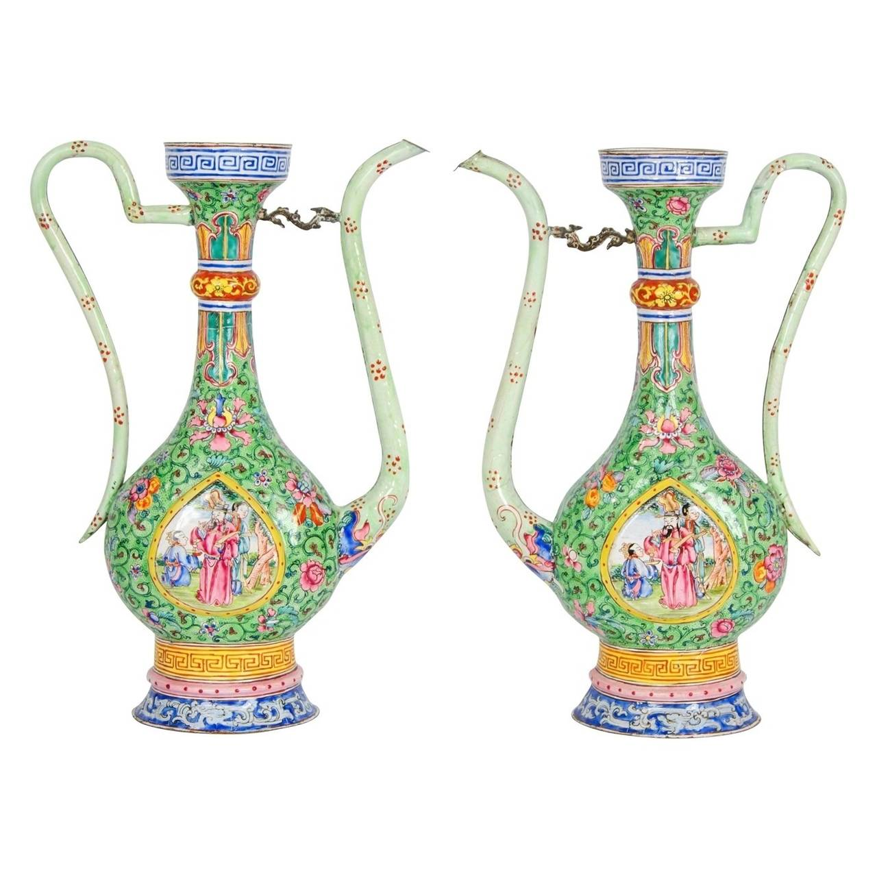 A Fine Pair Of Persian Style Canton Enamel Jugs At 1stdibs