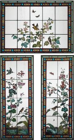 Three-Piece Stained Glass Window Set by Glasmalerei Geyling