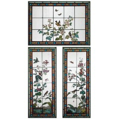 Three-Piece Stained Glass Window Set by Glasmalerei Geyling
